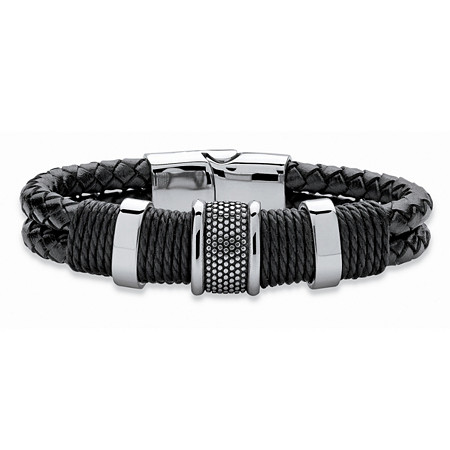 Men's Tribal Bracelet With Magnetic Clasp in Stainless Steel and Braided Black Leather 8