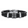 Related Item Men's Tribal Bracelet With Magnetic Clasp in Stainless Steel and Braided Black Leather 8