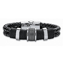 Men's Tribal Bracelet With Magnetic Clasp in Stainless Steel and Braided Black Leather 8""