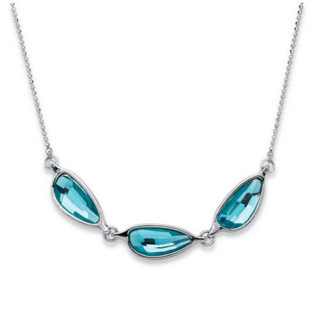 Blue Half Moon Crystal Necklace MADE WITH SWAROVSKI ELEMENTS in Silvertone 18