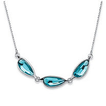 "Blue Half Moon Crystal Necklace MADE WITH SWAROVSKI ELEMENTS in Silvertone 18""-20"""