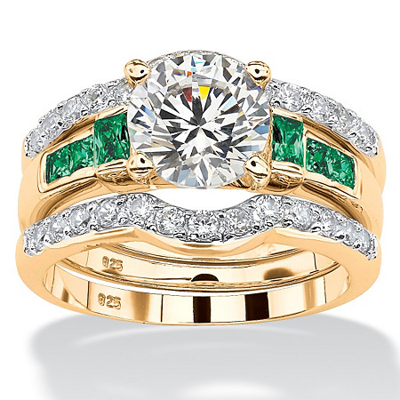 2.39 TCW Cubic Zirconia and Green Crystal Three-Piece Bridal Ring Set 18k Gold over Sterling Silver at PalmBeach Jewelry