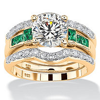 Cubic Zirconia and Simulated Emerald 3.11 TCW 3-Piece Bridal Ring Set in 18k Gold over Sterling Silver