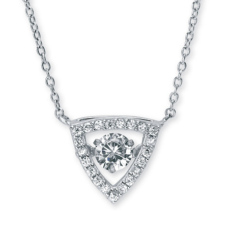 .69 TCW Round CZ in Motion Cubic Zirconia Triangle Halo Pendant Necklace in Sterling Silver 18