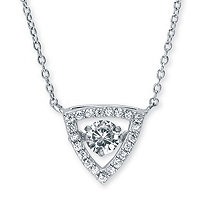 .69 TCW Round CZ in Motion Cubic Zirconia Triangle Halo Pendant Necklace in Sterling Silver 18""