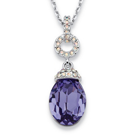 Purple Pear Drop Crystal Pendant Necklace MADE WITH SWAROVSKI ELEMENTS in Silvertone 16