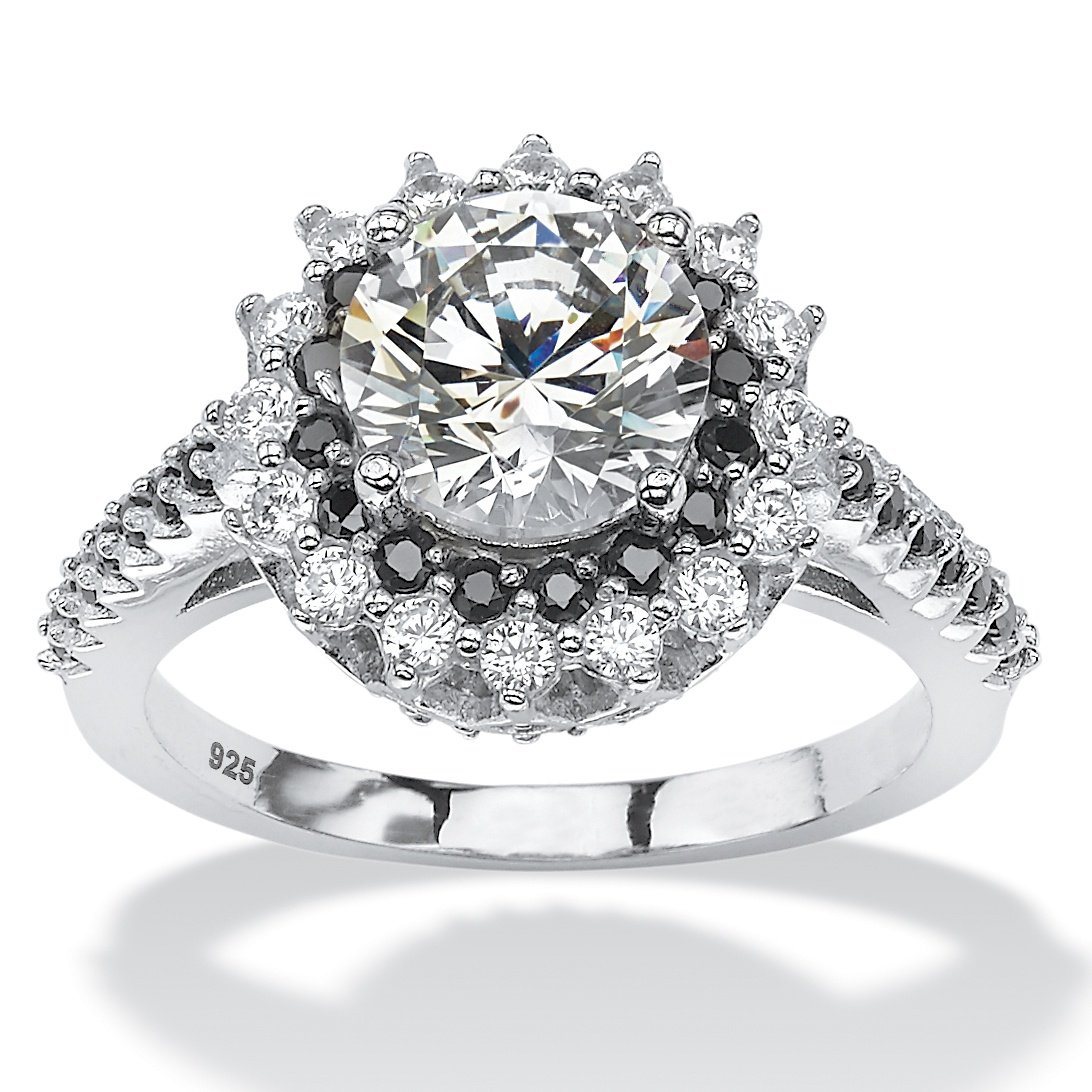 285 TCW Round White And Black Cubic Zirconia Halo Engagement Ring In Platinum Over Sterling