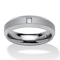 Men's 1/6 TCW Square-Cut Diamond Angled Comfort Fit Wedding Band in Brushed and Polished Titanium