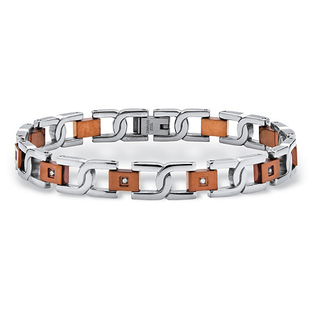 Men's 1/7 TCW Round Diamond Two-Tone S-Weave Bracelet in Chocolate Stainless Steel 8 1/2