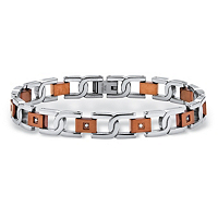 Men's Round Diamond Two-Tone S-Weave Bracelet In Chocolate ONLY $67.95