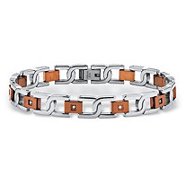 Men's Round Diamond Two-Tone S-Weave Bracelet 1/7 TCW in Chocolate Ion-Plated Stainless Steel 8.5""