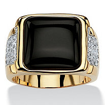 Men's Cushion-Cut Genuine Black Onyx and CZ Cabochon Ring .72 TCW 14k Gold-Plated
