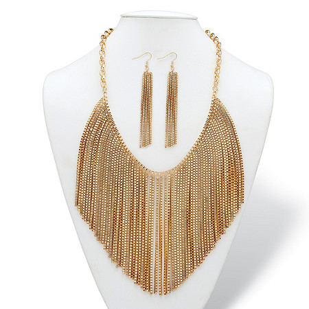 Mesh Fringe Two-Piece Bib Necklace and Drop Earrings Set with Rolo-Link Chain in Gold Tone at PalmBeach Jewelry