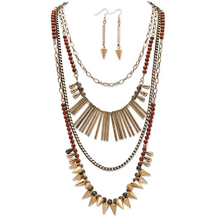 "Round Lucite and Multi-Charm Vintage-Inspired 2-Piece Necklace and Earrings Set in Antique Gold Tone Adjustable 20""-22.5"" at PalmBeach Jewelry"
