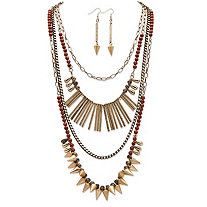 Round Lucite and Multi-Charm Vintage-Inspired 2-Piece Necklace and Earrings Set in Antique Gold Tone Adjustable 20