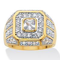 Men's 2.33 TCW Square-Cut And Round Cubic Zirconia Octagon Grid Ring