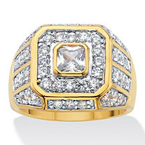SETA JEWELRY Men's 2.33 TCW Square-Cut and Round Cubic Zirconia Octagon Grid Ring 14k Gold-Plated