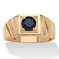 Men's 1.41 TCW Round Black Genuine Sapphire Ring in 14k Gold over Sterling Silver