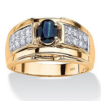 Men's 1.53 TCW Oval-Cut Genuine Blue Sapphire and Cubic Zirconia Ring 14k Gold over Sterling Silver