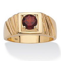 SETA JEWELRY Men's 1.40 TCW Round Genuine Red Garnet Ring in 14k Gold over Sterling Silver