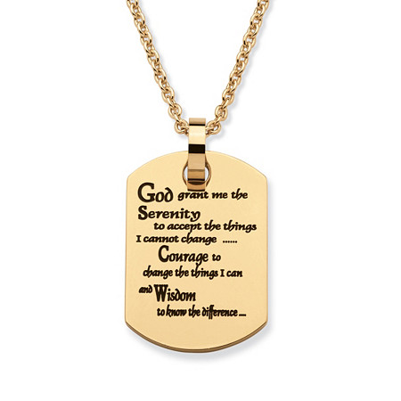 Serenity prayer dog tag pendant necklace in gold ion plated serenity prayer dog tag pendant necklace in gold ion plated stainless steel 20 aloadofball Choice Image