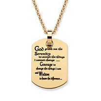 """Serenity Prayer"" Dog Tag Pendant Necklace in Gold Ion-Plated Stainless Steel 20"""