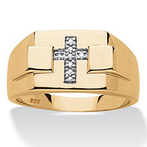 Men's Diamond Accent Religious Square Cross Ring in 14k Gold over Sterling Silver