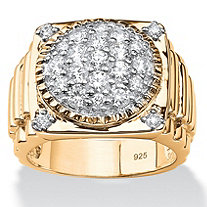 SETA JEWELRY Men's 1.63 TCW Round Pave Cubic Zirconia Step-Top Cluster Ring in 14k Gold over .925 Sterling Silver