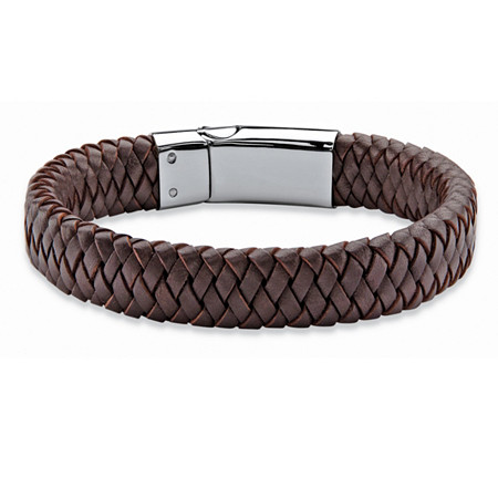 "Men's Brown Braided Leather and Stainless Steel Bracelet with Magnetic Closure 9"" at PalmBeach Jewelry"