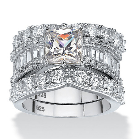 6.18 TCW Princess-Cut Cubic Zirconia Three-Piece Bridal Ring Set in Platinum over Sterling Silver at PalmBeach Jewelry