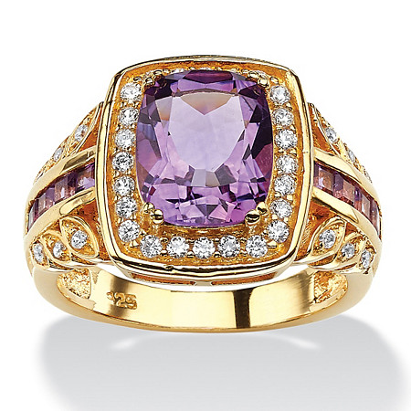 3 TCW Cushion-Cut Genuine Purple Amethyst and CZ Halo Ring in 14k Gold over Sterling Silver at PalmBeach Jewelry