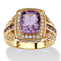 SETA JEWELRY 3 TCW Cushion-Cut Genuine Purple Amethyst and CZ Halo Ring in 14k Gold over Sterling Silver