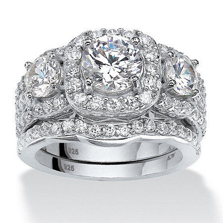 Round Cubic Zirconia 2-Piece Triple Halo Bridal Ring Set 3.74 TCW in Platinum over Sterling Silver at PalmBeach Jewelry