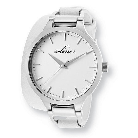 White A-Line Gemini Fashion Watch With White Leather Strap in Stainless Steel 7 1/2