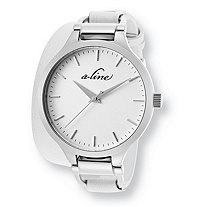 White A-Line Gemini Fashion Watch With White Leather Strap in Stainless Steel 7 1/2""