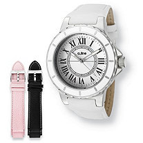 White A-Line Marina Interchangeable Watch Set With Leather Bands in Stainless Steel Expandable 8""