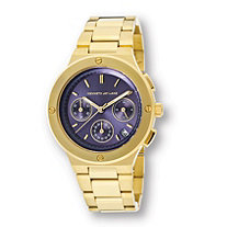 SETA JEWELRY Kenneth Jay Lane 2100 Series Watch With Dark Blue Dial in Gold Tone Stainless Steel Expandable 8
