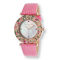 Kenneth Jay Lane Aurora Multicolor Pave Crystal Watch With Mother-Of-Pearl Face in Rose Gold Tone 8""