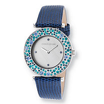 Kenneth Jay Lane Aurora Blue Pave Crystal Watch With Mother-Of-Pearl Face Stainless Steel 8""