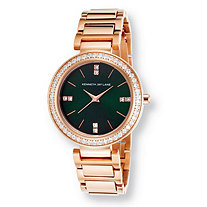 Kenneth Jay Lane Glitz Watch With Green Dial and Crystal Accents in Stainless Steel Adjustable 8""