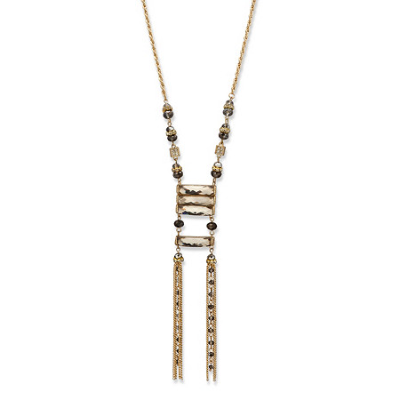 Grey Oblong and Round Crystal Gold Tone Ladder Necklace 29