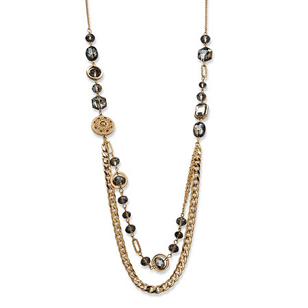 Gray Bezel-Set Glass, Crystal Accent and Golden Charm Mixed Link Gold Tone Statement Necklace 34