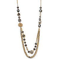 Gray Bezel-Set Glass, Crystal Accent and Golden Charm Mixed Link Gold Tone Statement Necklace 34""