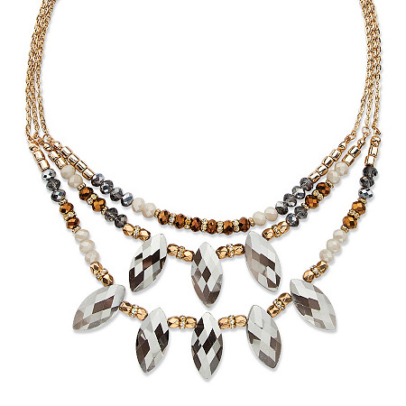 Marquise-Cut Grey Crystal Multi-Strand Gold Tone Statement Necklace Adjustable 18