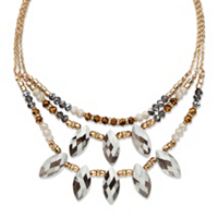 Marquise-Cut Grey Crystal Multi-Strand Gold Tone Statement Necklace Adjustable ONLY $22.04