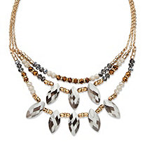 Marquise-Cut Grey Crystal Multi-Strand Gold Tone Statement Necklace Adjustable 18""
