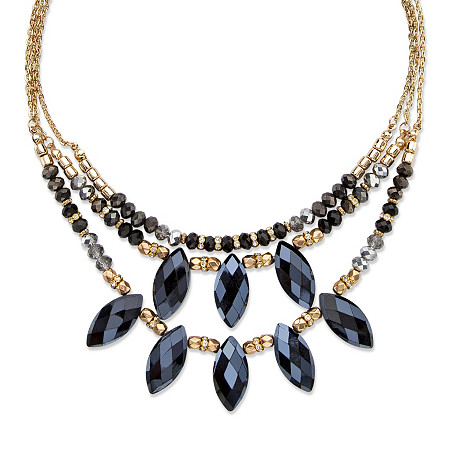 Black and Grey Marquise-Cut Aurora Borealis Beaded Crystal Triple-Strand Gold Tone Statement Necklace Adjustable 18