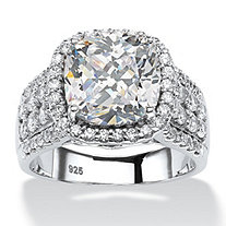 3.68 TCW Cushion-Cut and Pave Cubic Zirconia Halo Engagement Ring in Platinum over Sterling Silver