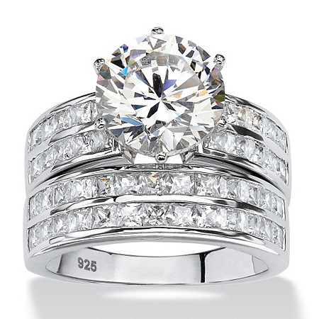5.84 TCW Round Cubic Zirconia Two-Piece Channel Bridal Ring Set in Platinum over Sterling Silver at PalmBeach Jewelry