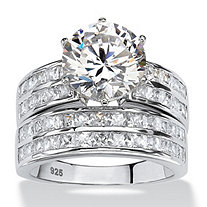 SETA JEWELRY 5.84 TCW Round Cubic Zirconia Two-Piece Channel Bridal Ring Set in Platinum over Sterling Silver